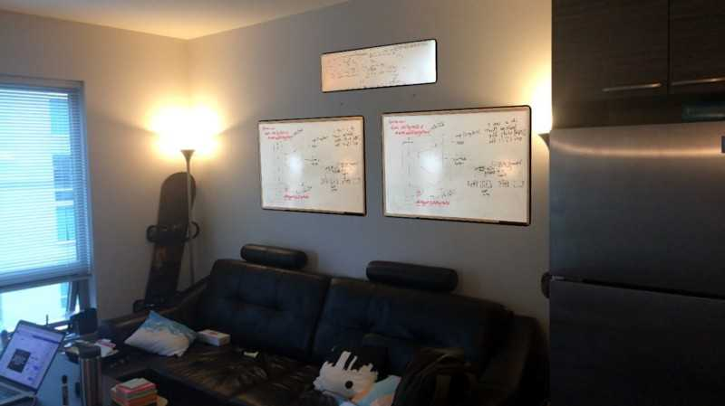 Testing Two Whiteboards and Engineering Diagram above them